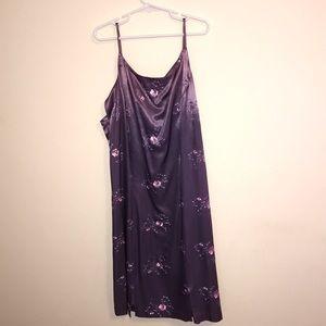 Purple & Pink Flower Silky Size 7 Mini Dress
